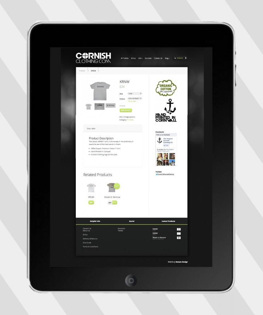 cornish clothing ipad website