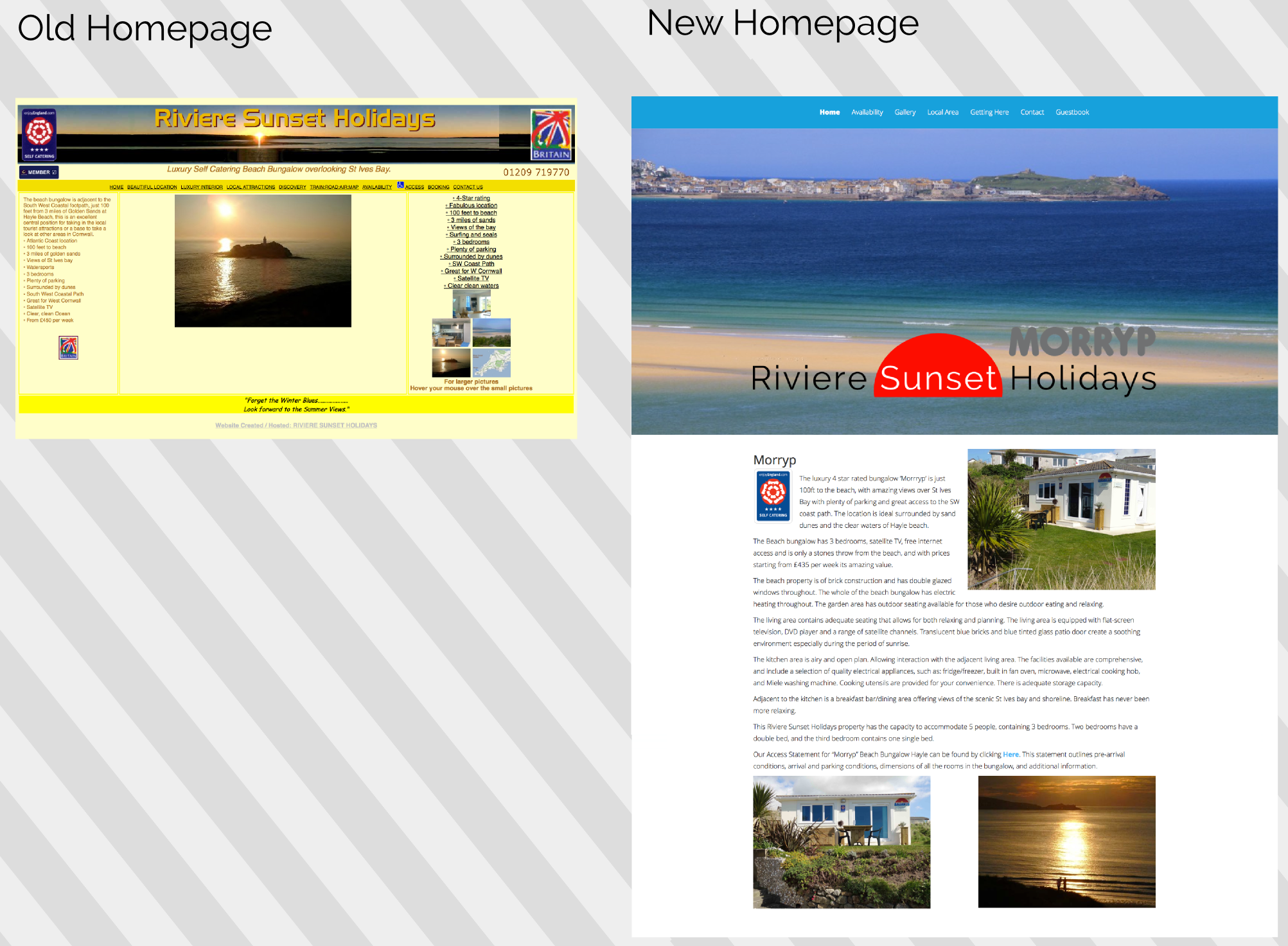 homepage compare new website